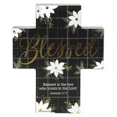 Renewing Faith, Jeremiah 17:7 Blessed Christmas Chunky Cross, Wood, 5 x 6 x 1 inches