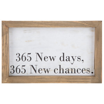 365 New Days Wood Wall Plaque, Natural Frame, 10 1/2 x 6 1/2 x 2 inches