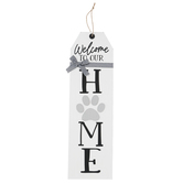 Welcome To Our Home Dog Paw Wall Decor, Wood, White and Black, 7 x 23 1/2 inches