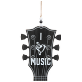 I Love Music Guitar Headstock Wall Decor, MDF, Black, 15 1/4 x 9 5/8 x 3/8 inches