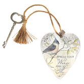 Demdaco, Spread Your Wings Art Heart Sculpture, White, Gray, and Gold, 3.50 x 3.50 Inches