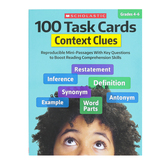Scholastic, 100 Task Cards Context Clues Activity Book, 80 Pages, Grades 4-6