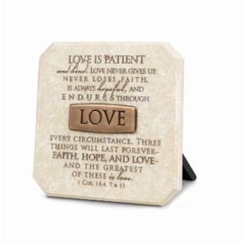 Lighthouse Christian Products, 1 Corinthians 13:4,7,13 Love Is Patient Plaque, Stone, Cream, 3 3/4 x 3 3/4 inches