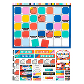 Colorfetti Collection, Customizable Calendar Bulletin Board Set, Multi-Colored, 107 Pieces