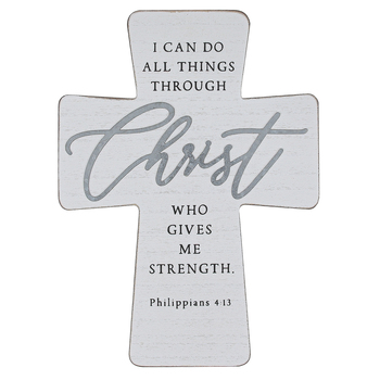 Philippians 4:13 Wood Wall Cross, Whitewash and Galvanized Metal, 8 1/2 x 11 3/4 x 3/4 inches