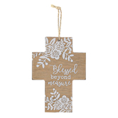 Blessed Beyond Measure Floral Wood Wall Cross, Brown and White, 5 1/8 x 3 5/8 x 1/4 inches