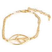 His Truly, Double Strand Chain Bracelet with Abalone Leaf, Zinc Alloy, Gold