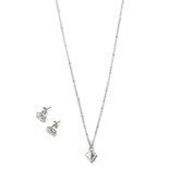 Faithful and Fabulous, Diamond Shaped Necklace and Earring Set, Iron, Silver, 20 Inch Chain, 3 Pieces