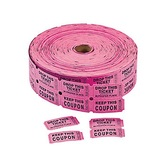 Fun Express, Pink Coupon Double Roll Tickets, 2 x 2 Inches, Pink, 1000 Roll