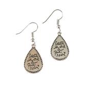 Bella Grace, Psalm 51:10 Create in Me a Pure Heart Dangle Earrings, Silver