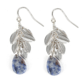 Set Free, Leaves with Blue Teardrop Stone Dangle Earrings, Zinc Alloy, Silver