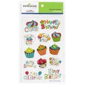 Renewing Minds, Happy Birthday Shaped Stickers, Multi-Colored, Pack of 100