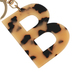 B Letter Keychain, Leopard, 2 3/4 x 2 1/4 Inches