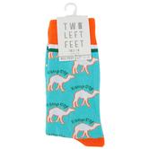 Two Left Feet Sock Co., Hump Day, Men's Crew Socks, Blue and Orange, 1 Pair