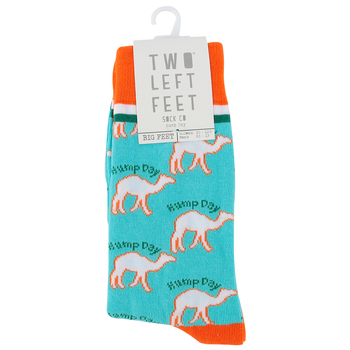 Two Left Feet Sock Co., Hump Day, Men's Crew Socks, Blue and Orange, 1 Pair
