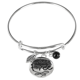 Bella Grace, Set Free Bangle Charm Bracelet, Zinc Alloy, Silver and Black, 2 3/4 inch diameter