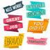 Renewing Minds, Mini Cutouts, Inspirational Flags, 6 Designs, 3 Inch, Multi-Colored, 36 Pieces