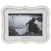 Roman, Inc., Mr & Mrs Photo Frame, White & Silver, Holds 4 x 6 inch Photo, 6 x 8 inches