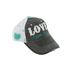 Cherished Girl, 1 Corinthians 13:8, Love Never Fails, Adjustable Cap, Gray and White