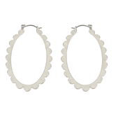 Set Free, Hoop with Scalloped Edge Dangle Earrings, Zinc Alloy, Brushed Silver