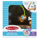 Melissa & Doug, First Play Pets Wooden Bead Maze, 9 1/4 x 8 3/4 x 6 inches, Ages 12 Months & Older