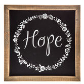 Hope with Floral Wreath, Wooden Wall Art, 10 x 10 inches