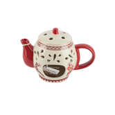 Floral Teapot Oil/Wax Warmer, Ceramic, Red