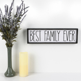 Best Family Ever Wall Plaque, MDF, White & Black, 5 x 17 x 1 1/4 inches