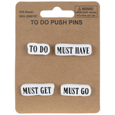 To Do Push Pins, Black & White, Pack of 4