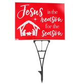 Universal Designs, Jesus is the Reason For the Season Yard Sign, Red, Corrugated Plastic, 24 x 18 inches