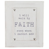 Walk By Faith Tabletop Plaque, Wood, Distressed White, 6 1/2 x 8 x 1 1/2 inches
