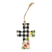 Buffalo Check & Floral Mini Wall Cross, Ceramic, 4 x 2 3/4 inches