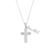 Spirit & Truth, Isaiah 61:3, Beautiful Handwriting Cross, Women's Necklace, Stainless Steel, 18 Inches