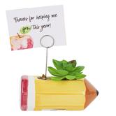 Pencil and Succulent Photo Clip, Ceramic, Yellow, 2 1/8 x 5 1/8 x 7 1/8 inches