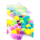 Pom Poms, 1/2 inch, Assorted Bright Colors, Set of 125