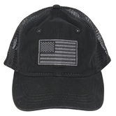 American Flag Baseball Cap, Adjustable, Black and Gray, One Size