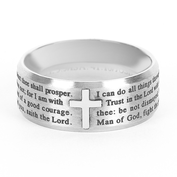 Spirit & Truth, Popular Medley Logos, Men's Ring, Stainless Steel, Silver, Sizes 8-12