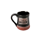 Abbey and CA Gift, Man of Wisdom Stoneware Mug, Black and Terra Cotta, 20 ounces