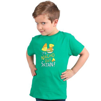 NOTW, Nacho Day Satan, Kid's Short Sleeve T-shirt, Kelly Green, Youth X-Small
