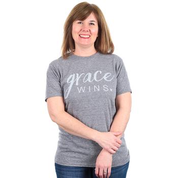 Crazy Cool Threads, Grace Wins, Women's Short Sleeve T-Shirt, Heather Gray, S-2XL