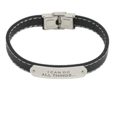 H.J. Sherman, Philippians 4:13, I Can Do All Things Bracelet, Black Leather and White Stitching, 2 3/4 inches