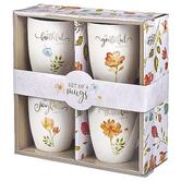 Christian Art Gifts, Grateful Ceramic Mugs Boxed Gift Set, 4-Piece, Floral, Gold Foil, 12 Ounces
