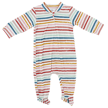 Whistling Willow, Striped Zip-Front Long Sleeve Footed Sleeper, 0 to 9 Months