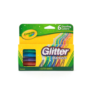 Crayola Glitter Markers, Assorted Colors, Box of 6