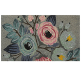 Floral Print Doormat, Coir & Polyvinyl Chloride, Pink & Blue, 18 x 30 inches