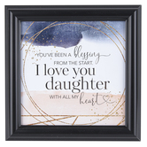 Dexsa, I Love You Daughter Wall Plaque, MDF Wood, Pink, Navy, White, and Gold, 10 x 10 Inches