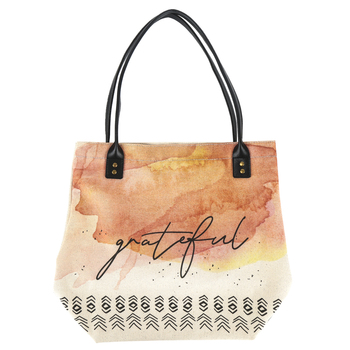 Christian Brands, Grateful Tote Bag, Canvas, Natural, 11 x 13 1/2 x 6 inches
