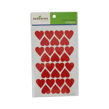Renewing Minds, Heart Shaped Stickers, Red, Pack of 140