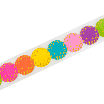 Teacher Created Resources, Confetti Circles Die-Cut Border Trim, 35 Feet, Multi-Colored and Gold Dots