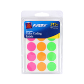 Avery, Removable Color Coding Labels, 3/4 inch, Assorted Neon Colors, 315 Stickers